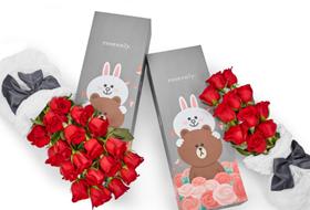 Roseonly携手Line推出定制玫瑰礼盒