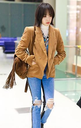 冬天穿西装,像宋茜这样最洋