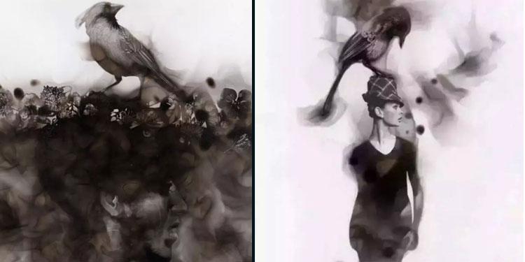 加拿大艺术家火焰水墨画 你咋不上天呢